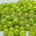 ลูกปัดมุก พลาสติก สีเขียวมะนาว 4มิล 1 ขีด (3,553ชิ้น)