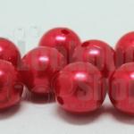 ลูกปัดมุก พลาสติก สีแดง 14มิล 1 ขีด (49ชิ้น)