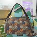 กระเป๋าผ้าญี่ปุ่น สายหนังแท้ ปรับความยาวได้ มีช่องใส่ของเยอะ สีโทนน้ำตาล (สินค้าฝากขาย ไม่บวกเพิ่ม )