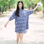 เดรสคลุมท้องแฟชั่นเกาหลี โทนสีฟ้า