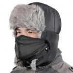 หมวกแฟชั่นเกาหลีพร้อมส่ง ปิดหูครอบหัว กันหนาวหิมะ สีดำ มีที่ปิดปาก