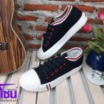 รองเท้าผ้าใบแฟชั่นเกาหลี สีดำ ขอบแดงขาวเบอร์38,40
