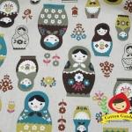 ผ้าคอตตอนลินิน (ฝ้ายผสมลินิน) ญี่ปุ่น ลายตุ้กตารัสเซีย โทน น้ำตาล เขียว ฟ้า ของ Cosmo Textile น่ารักมากค่ะ