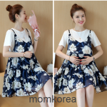 เดรสคลุมท้องแฟชั่นเกาหลี เสื้อสีขาว+เอี้ยมลายดอก