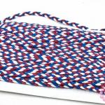 เชือกถักเปีย สีน้ำเงิน-แดง-ขาว กว้าง 5มิล(1หลา/90ซม.)
