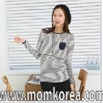 MK294  เสื้อให้นมแนวน่ารัก สดใส แนวเกาหลี คุณแม่ยังสาว  สินค้าจะเป็นสีพื้้นกรมท่าเส้นขาว นะคะ