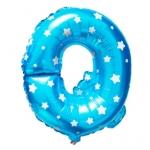 """ลูกโป่งฟอยล์รูปตัวอักษร Q สีฟ้าพิมพ์ลายดาว ไซส์เล็ก 14 นิ้ว - Q Letter Shape Foil Balloon Size 14"""" Blue color printing Star"""
