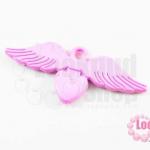 จี้โรเดียม หัวใจมีปีก สีชมพู 25 มิล