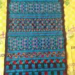 ผ้าปักลายกางเกงผืนยาว สีน้ำเงินสดใส ปักละเอียด 1 คู่