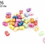 ลูกปัดพลาสติก คละสี รูปมินเนี่ยน 7X10มิล(1ขีด/370เม็ด)
