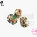 ลูกปัดกังไส สีโอรส ทรงรี 9x7 มิล (1ชิ้น)