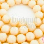 คริสตัลจีน ทรงกลมเจียร สีเปลือกไข่ขุ่น 10มิล(1เส้น)