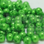 ลูกปัดมุก พลาสติก สีเขียว 6 มิล 1 ขีด