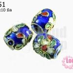 ลูกปัดกังไส สีน้ำเงิน ทรงรี 11x10 มิล (1ชิ้น)