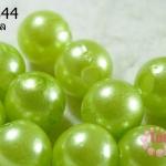 ลูกปัดมุก พลาสติก สีเขียวมะนาว 12 มิล (1ขีด/100กรัม)