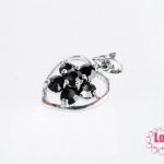 ตัวแต่งโรเดียม จี้ลูกปัด ตกแต่งสร้อยหินนำโชค รูปหัวใจล้อมเพชร สีดำ ขนาด 13x22 มิล