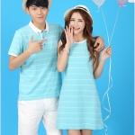 เสื้อคู่รัก ชายเสื้อคอปก Polo + หญิงเดรส แขนกุด ลายสีฟ้าขาว +พร้อมส่ง+