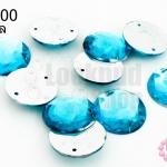 เพชรแต่ง กลม สีฟ้า มีรู 16มิล(10ชิ้น)