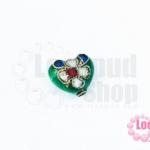 ลูกปัดกังไส หัวใจ สีเขียว 10X12มิล(1ชิ้น)