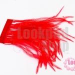 ขนนกกระจอกเทศมีริบบิ้น สีแดง ยาว 5 ซม.
