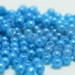 ลูกปัดมุก พลาสติก สีฟ้าเข้ม 3มิล 1 ขีด (8,150ชิ้น)
