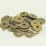 เหรียญจีน สีทองเหลือง มีห่วง 10มิล(10ชิ้น)