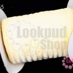 เชือกผ้า ริบบิ้นกำมะยี่ สีครีม (1ม้วน/50หลา)