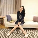MK143ชุดให้นมแฟชั่นเกาหลี 2 in 1 สีกรม เนื้อผ้านิ่ม สวมใส่สบาย เหมาะกับคุณแม่ทันสมัย