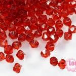 คริสตัลพลาสติก ทรงไบโคน สีแดง 4 มิล