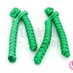 กระดุมจีน ตัวหนอน สีเขียว (4ชิ้น/2คู่)
