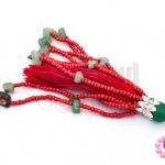 พู่ลูกปัดจีน สีแดง+หินแตกหยก+พู่สีแดง ยาว 9 ซม. (1ชิ้น)