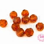 คริสตัลจีน กลมเจียรเหลี่ยม สีน้ำตาลอมส้ม 10มิล(1ชิ้น)