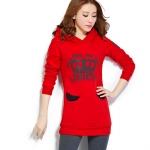 เดรสเสื้อกันหนาวแขนยาว มีฮูด ด้านหน้าสกรีน ลายมงกุฎ เสื้อสีแดง +พร้อมส่ง+
