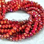 คริสตัลจีน สีแดงก่ำ ทรงซาลาเปา ขนาด 6 มิล ลดราคาเหลือเส้นละ 80 บาท จากปกติเส้นละ 150 บาท ยาว 18.5 นิ้ว มี 99 เม็ด