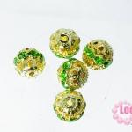 ตัวแต่งสร้อยหินนำโชคบอลเพชร แถวเดียวสีทอง เพชร สีเขียว 8 มิล