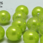 ลูกปัดมุก พลาสติก สีเขียวมะนาว 8 มิล (1ขีด/100กรัม)