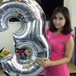"""ลูกโป่งฟอยล์รูปตัวเลข 3 สีเงิน ไซส์จัมโบ้ 40 นิ้ว - Number 3 Shape Foil Balloon Size 40"""" Silver Color"""