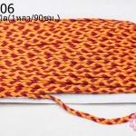 เชือกถักเปีย สีส้ม-แดง กว้าง 5มิล(1หลา/90ซม.)