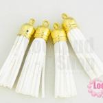 พู่หนังชามุด สีขาว จุกทอง 5.5ซม (4ชิ้น)