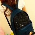 กระเป๋าเป้แฟชั่นเกาหลี Unihouse พร้อมส่ง สี Dark blue ตกแต่งวิบวับ มีหน้าลิง น่ารักสุดๆค่ะ