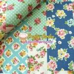 ผ้าคอตตอนลินิน ญี่ปุ่น รุ่น Vintage Collage ลาย Patchwork โทนสีฟ้า เนื้อหนานิ่ม