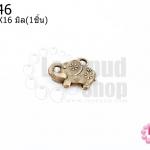 จี้ทองเหลือง ช้างลายดอก 13X16มิล(1ชิ้น)