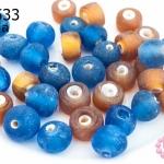 ลูกปัดแก้ว ทรงกระบอก+กลม / สีน้ำตาล+น้ำเงิน (ขุ่น) 7-8มิล(1ขีด/100กรัม)