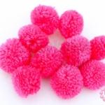 ปอมปอมไหมพรม สีชมพู 3ซม (10ชิ้น)