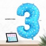 """ลูกโป่งฟอยล์รูปตัวเลข 3 สีฟ้าพิมพ์ลายดาว ไซส์จัมโบ้ 40 นิ้ว - Number 3 Shape Foil Balloon Size 40"""" Blue Color printing Star"""