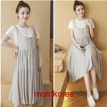 MK84022 เอี้ยมคลุมท้องแฟชั่นเกาหลี เสื้อสีขาว+เดรสสีเทา ผ้านิ่มใส่สบายมากๆ ค่ะ หลังคลอดใส่ได้ค่ะ