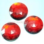 เพชรแต่ง ทรงกลม สีแดง แบบไม่มีรู ขนาด 30x30x6 มิล 1 อัน