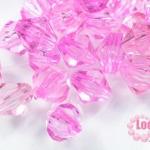 คริสตัลพลาสติก ทรงไบโคน สีชมพู 8 มิล