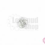 กระดุมโลหะ ดอกกุหลาบ สีเงิน 13มิล(1ชิ้น)