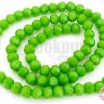 คริสตัลจีน ทรงกลมเจียร สีเขียวมะนาวขุ่น 4มิล(1เส้น)